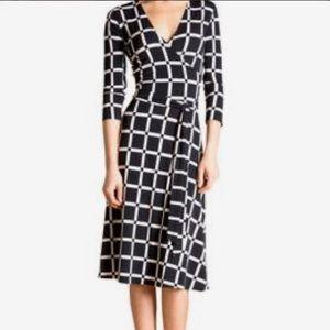 Leota Daria Navy Windowpane Faux Wrap Dress